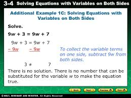 additional example 1c solving equations with variables on both sides