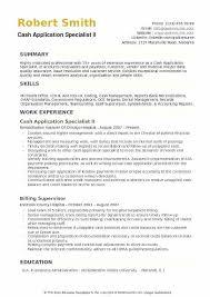 Cash Application Specialist Ii Resume Model Cash Application