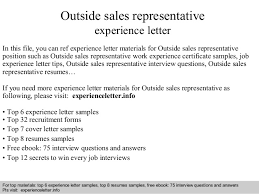 Outside Sales Representative Sample Resume New Outside Sales Representative Experience Letter