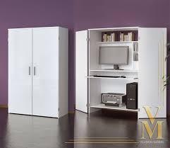 hide away office. computer cupboard cabinet hideaway desk in white highgloss hide away office