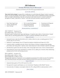 Resume For Sales Manager