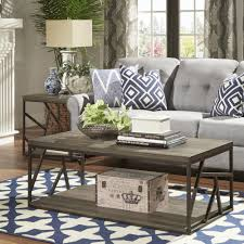 Lincoln Metal Contemporary Distressed Wood Coffee Table or Side Table by  iNSPIRE Q Classic - Free Shipping Today - Overstock.com - 17494111
