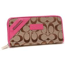 Discount Coach Zip In Signature Large Pink Wallets Dui Outlet cYe7i