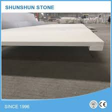 pure white quartz prefabricated countertop slab with square edge