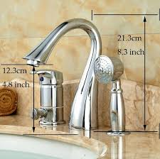 3 hole deck mount tub faucet with hand shower deck mount 3 holes bathtub shower faucet