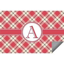 red tan plaid indoor outdoor rug personalized runner