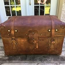 vtg 1940 50s simmons furniture metal medical. Antique Sole Leather Trunk Vtg 1940 50s Simmons Furniture Metal Medical