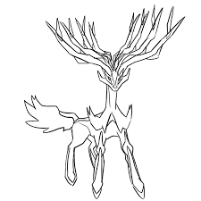 Xerneas's head is blue with two horns on either side of their head, and the root of their horns mark their face, just below the eye. Xerneas And Yveltal Coloring Pages