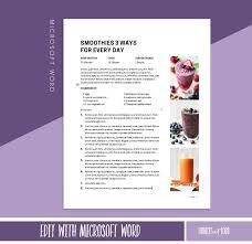Editable Recipe Template Printable Recipe Binder Printable Cookbook Template Printable Cookbook Kitchen Printable Microsoft Word