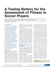pdf a testing battery for the essment of fitness in soccer players
