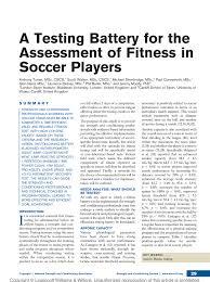 preseason fitness testing in national collegiate athletic ociation soccer adam sayers request pdf
