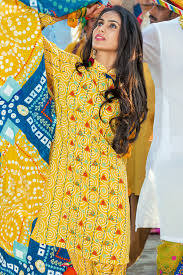Gul Ahmed Design 2017 Gul Ahmed Yellow 3 Pc Printed Lawn Dress Cl 243 A