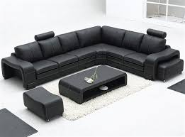 Modern Leather Sectional Couch Sofa Set Table Intended Impressive Ideas