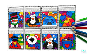 Select from 35472 printable coloring pages of cartoons, animals, nature, bible and many more. Multiplication Color By Number Worksheets For Winter Raven Cruz