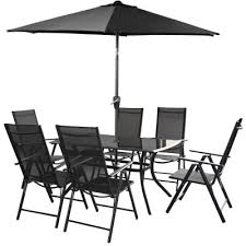 royalcraft cayman 6 seater rectangular anthracite recliner set with parasol