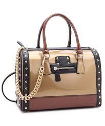dasein leather satchel handbag shoulder