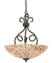 inverted bowl pendant lighting. shown in malaga finish and pen shell mosaic glass inverted bowl pendant lighting r