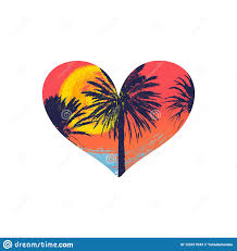 Heart Shape Design T Shirts Hand Drawn Palm Trees With A Heart Shape For T Shirt Design