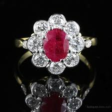 antique ruby diamond cer ring 18ct gold