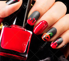 Halloween Nail Art Design. Nail Polish Stock Photo, Picture And ...