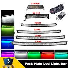 50 Inch Light Bar Halo 13 5 22 32 42 50 52 Straight Curved Led Light Bar Rgb Halo Color Changing 7 Solid Color Amp Remote Portable Work Lights Led Power Light Work Light