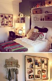 Adorable dorm room- reuse book cases as head board, window frame for display