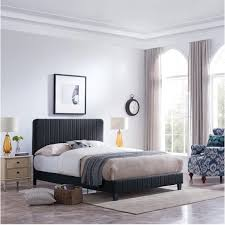 Fully-Upholstered Queen-Size Bed Frame, Contemporary, Minimal