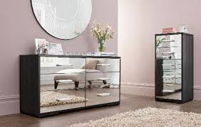 Mirrored Bedroom Furniture Sets Round Shape Wall Mirror Purple