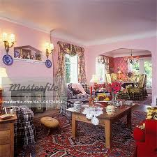 antique pine coffee table lace doily heavy fl swag ds buffalo check fabric chairs and ottoman pink walls red oriental rug collectibles