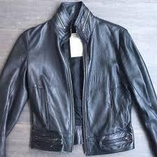 details about henry duarte jeans womens leather jacket sz l black motorcycle zipper trim