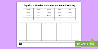 Here, you will find free phonics worksheets to assist in learning phonics rules for reading. Linguistic Phonics Phase 4c Er Sound Sorting Worksheet