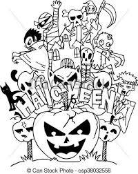 Art Doodle Halloween Ghost Doodle Art