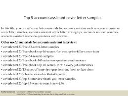 Accounts Assistant Cover Letters Top 5 Accounts Assistant Cover Letter Samples