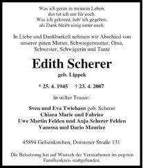 Traueranzeigen von Edith Scherer | WAZ.Trauer.de