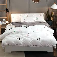 cute bed sets thick fleece warm bed set white grey color modern cute bedding set queen