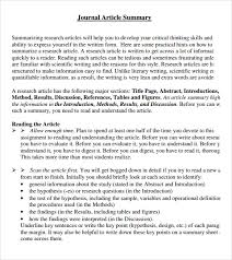 Article Summary Sample 6 Documents In Pdf