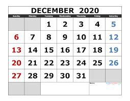 December 2020 Printable Calendar Template Excel Pdf Image
