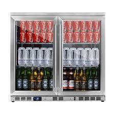 alfresco double door integrated stainless steel glass door fridge