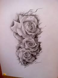 сделать татуировку розы на бедро 10x30 см в городе москва по эскизу