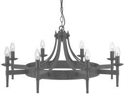 cartwheel gothic 8 light black wrought iron chandelier 2428 8bk in black metal chandelier view