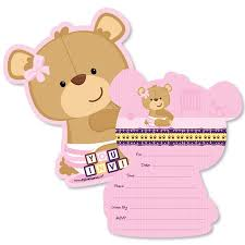 baby girl invite baby girl teddy bear shaped fill in invitations baby shower invitation cards with envelopes set of 12