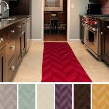 fabulous modern kitchen design with rug runners for hallways and kitchen cabinets plus free standing range
