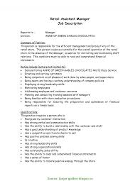 Grocery Store Manager Job Description For Resume