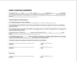 Car Sublease Agreement Template Sublease Agreement Form Sample 9 ...
