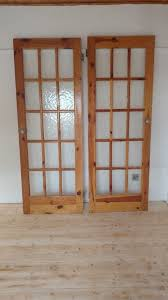 5 x interior doors glass panels heavy quality pine solid wood 72