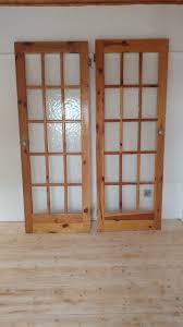 5 x interior doors glass panels heavy quality pine solid wood 72 5cm x 198cm