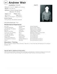 Acting Performing Arts Resume Template Performing Arts Cv