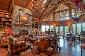 ... Extraordinary Image Of Log Cabin Interior Design Ideas : Delightful  Rustic Living Room Decoration Using Upholstered ...