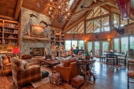 extraordinary image of log cabin interior design ideas delightful rustic living room decoration using upholstered