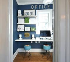 Office room diy decoration blue Teal Office Ideas For Home View In Gallery Small Home Office Design With Sleek Shelves In White Office Ideas Doragoram Office Ideas For Home Blue And White Home Office With The